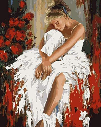 Bailarina de falda blanca (16x20 Pulgadas Sin Marco) Pintar por números para Adultos y niños Lienzos para Pintar por número con Pinceles y Colores Brillantes DIY Pintura al óleo Kit Regalo