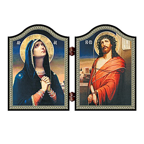 NKlaus 1402 Deva Maria & Jesus Holz Diptychon Skorbjashhaja Bogorodica i Spasitel Ikone