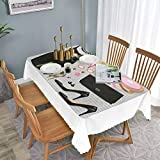 Dining Room Square Tablecloth Long Tablecloth W 27.5' x L 51' Black Smart Cocktail Dress Perfume Make Up Clutch Bag Black Pale Pink Pale Brown,Wedding/Banquet/Exhibition Table Cover-Polyester Fabri