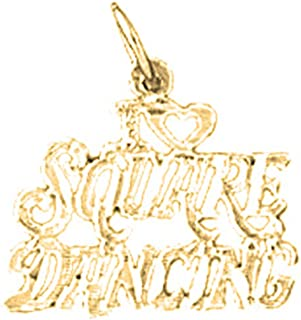 JEWELS OBSESSION 18K Saying Pendant | 18K Yellow Gold I Love Square Dancing Saying Pendant, Made in USA
