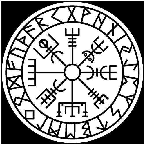 SamunshiVegvisir Sticker with Runes 4 Vikings Viking for Car Motorcycle in 11 Sizes and 25 Colours (90 x 90 cm) White)