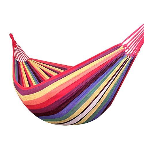 XiuHUa Hamac - hamac de camping durable, simple et double, portable, de type filet de pêche, intérieur et extérieur, adapté aux voyages, à la plage, dans la cour, pour la montagne, couleur arc-en-ciel