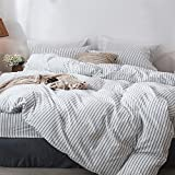 MooMee Bedding Duvet Cover Set 100% Washed Cotton Linen Like Textured Breathable Durable Soft Comfy (3pcs, White&Black Stripe, Queen)