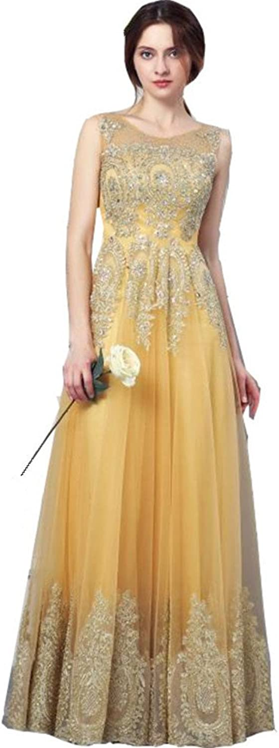 Aiyue Yishen Women's Ball Gown with Round Neck Net Applique and Beaded Flooring
