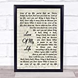 123 BiiUYOO Queen Love of My Life Song Lyric Vintage Script Print with Frame 14' x 11' Inches