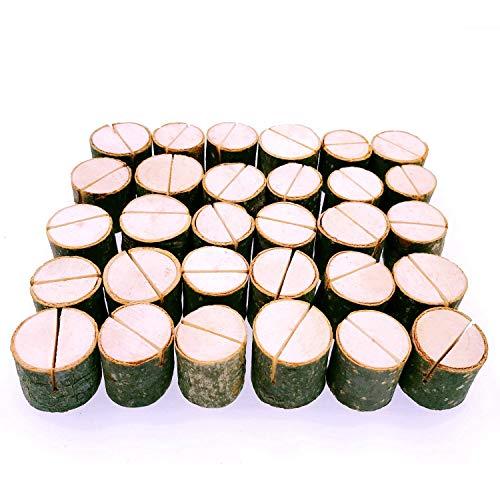 JZK 30 x Segnaposto legno forma tronco per matrimonio shabby chic Natale battesimo compleanno festa giardino BBQ, segnatavolo porta foto biglietto prezzi