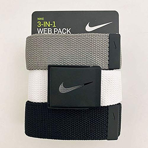 Nike Men's 3 Pack Web Belt, Matte Black Hardware,...