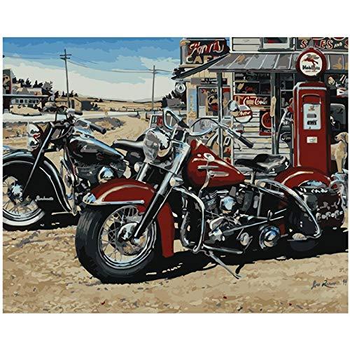 yaonuli Digitale Malerei DIY Retro Coole Motorrad Stillleben Leinwand Hochzeit Dekoration Geschenk 40x50cmRahmenlos