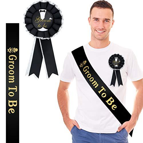 WILLBOND 2 Pezzi Set Badge Fascia Sposo Include Groom To Be Fascia di Raso Groom To Be Premiata Spilla Distintivo Nastro per Addio al Celibato Festa Fidanzamento Celebrazione Forniture