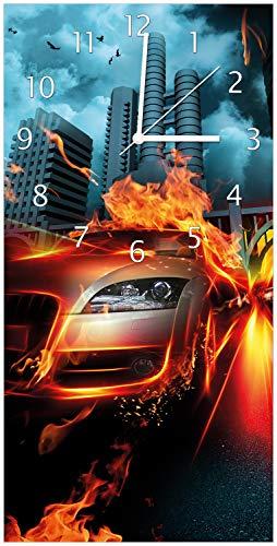Wallario Design Wanduhr Brennendes fahrendes Auto aus Acrylglas, Größe 30 x 60 cm, weiße Zeiger