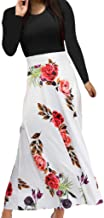 TIFENNY Fashion Daily Wear Dresses Women Long Sleeve Floral Print Long Maxi Dress Solid Color Casual Tops