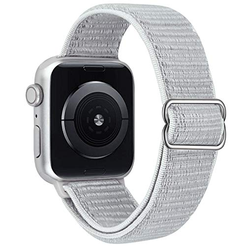 VISOOM Stretchy Bands Compatible with Apple Watch 38mm/40mm/42mm/44mm-Apple Watch Strap for iWatch Series 6/SE/5/4/3/2/1 Accessories Elastics Sports Replacement for Men Women (Silver, 42mm/44mm)
