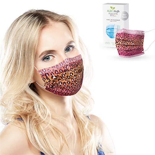 ALB Stoffe® ProtectMe - Einwegmasken SAFARI PINK, 100% Made in Germany, Nasen-Mund-Masken bedruckt, OP Masken bunt, 20er Pack