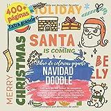 Navidad Doodle. Libro de colorear gigante. Los más de 400 temas de imágenes incluyen: cosmético, compras, redes sociales, pelotas, gimnasio, estrella, ... transporte, viajes mundiales, circo y más