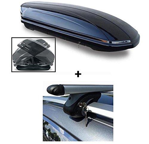 Dachbox VDP-MAA580 Duo Relingträger Alu 580 Liter kompatibel mit VW Caddy ab 2008 abschließbar