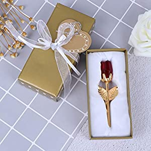 TBoxBo Crystal Rose with Metal Rod Flower Branch Decoration Pendant Birthday Holiday Party Unique Present for Girlfriend Wife Mum Wedding Anniversary Valentine's Day Mother's Day Golden