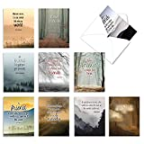 Friendship Thank You Cards with Envelopes Box of 10, 'Friendly Words' Appreciation Note Cards with Quotes and Landscape Images, Say Thanks to Friends with Grateful Notecard Set 4 x 5.12 inch M6618TYG