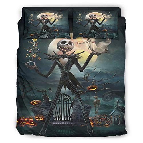 Jack Nightmare Before Christmas Halloween Horror 4-Piece Bed Set Full 4-Piece Bed Linen with Zip Includes Comfortable 1 Duvet Cover & 1 Duvet Cover & 2 Pillow Cases White 3 228 x 264 cm