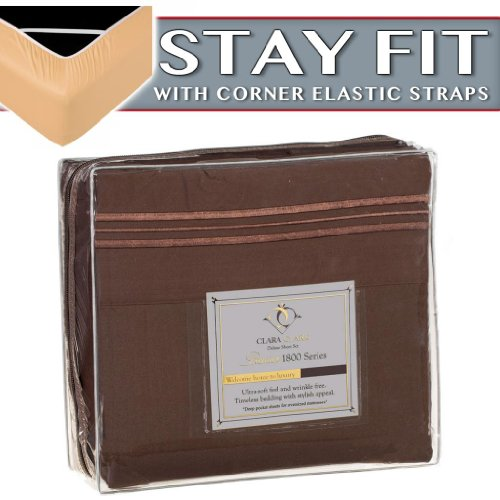 Clara Clark 1800 Series Bed Sheet Sets - Stay fit on Mattress with Elastic Straps at Corners - King, Chocolate Brown