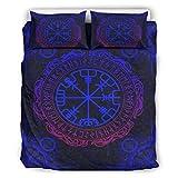 Juego de ropa de cama de marca genérica, diseño de tatuaje azul vikingo, ligero y suave, juego de 3 piezas (1 funda de edredón y 2 fundas de almohada), color blanco arrugado, 167,6 x 228,6 cm