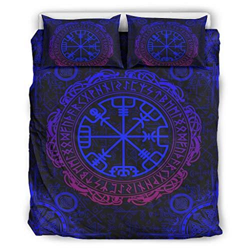 Go Go Grifendoor Colcha Viking Blue Tattoo para todo el año y suave – Juego de ropa de cama 1 funda nórdica y 2 fundas de almohada lavable a máquina blanco 168 x 229 cm