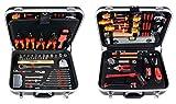 Projahn 8683 Werkzeugkoffer ELEKTRO 128-tlg. , Werkzeug Kasten / Nuss Satz / Ratschen Satz mit 6-Kant 1/2' Einsätze , inkl. Schrauberbits (Schlitz, PH, PZ, TX) , Knarre 48 Zähne , ABS...