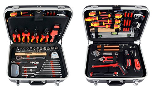 Projahn 8683 Werkzeugkoffer ELEKTRO 128-tlg., Werkzeug Kasten / Nuss Satz / Ratschen Satz mit 6-Kant 1/2