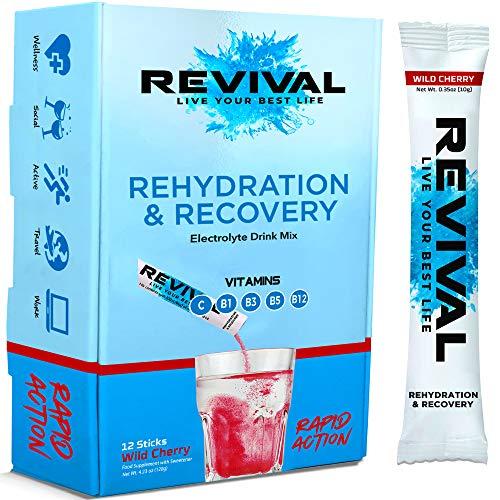 Revival Rapid Rehydration, Electrolytes Powder - High Strength Vitamin C, B1, B3, B5, B12 Supplement Sachet Drink, Effervescent Electrolyte Hydration Tablets - 12 Pack Cherry