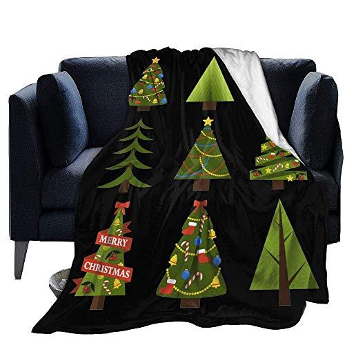 Blanket Warm Fleece Throw Christmas Tree Print Ultra-Soft Light Weight Cozy Warm Fluffy Plush Microfiber for Living Room