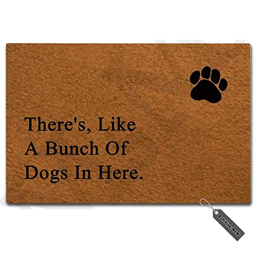 MsMr Entrance Doormat There's, Like A Bunch of Dogs in Here Indoor Outdoor Door Mat Non-Slip Doormat 23.6 by 15.7 Inch Machine Washable Non-Woven Fabric