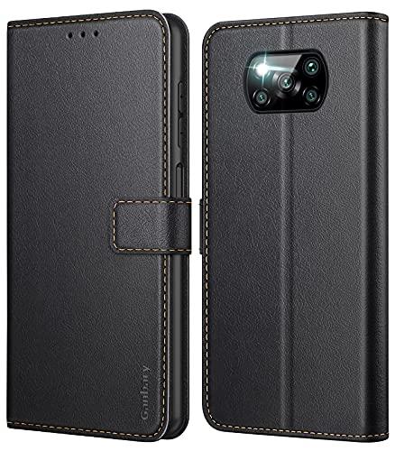 Ganbary Handyhülle für Xiaomi Poco X3 Pro / X3 NFC Hülle, Premium Leder Tasche Flipcase [Kartenschlitzen] [Magnetverschluss] [Standfunktion] kompatibel mit Xiaomi Poco X3 Pro Schutzhülle, Schwarz