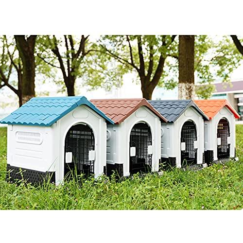 Caseta Perros Exterior, Casita Perro, Caseta de Interior/Exterior para Perros, Casa de Plástico para Perros, Casitas para Gatos, con Puerta...