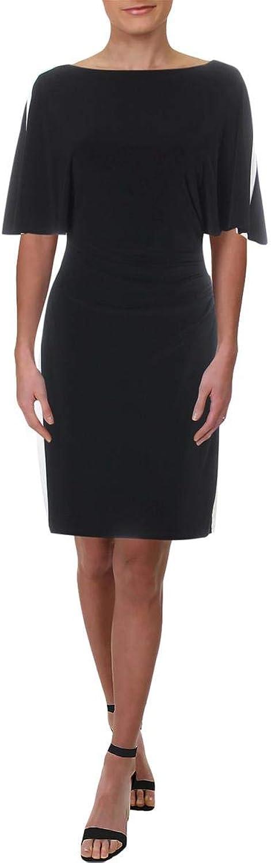 Lauren Ralph Lauren Womens Petites colorblock Flutter Sleeves Party Dress