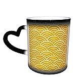 Taza que cambia de color, paleta de caléndula de onda japonesa Seigaiha Taza sensible al calor Taza de cerámica de café mágico de color cambiante para hombres y mujeres