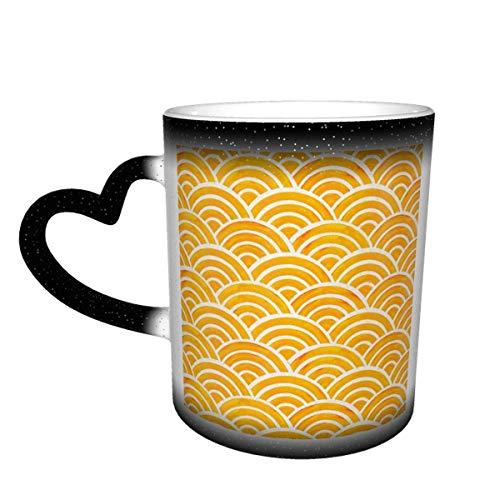 Taza de café de cerámica que cambia el calor, paleta japonesa de caléndula, taza de té mágica sensible para café, té, leche o cacao para hombres y mujeres