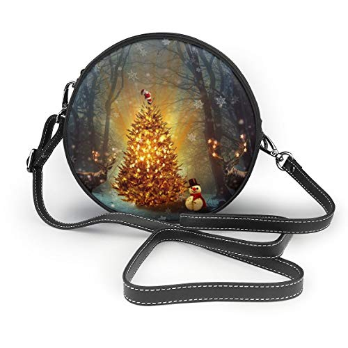 Wrution Weihnachtsmann Goldener Weihnachtsbaum Elch Schneemann Personalisierter runder Reißverschluss Schultertasche weiches Leder Kreise Geldbörse für Damen