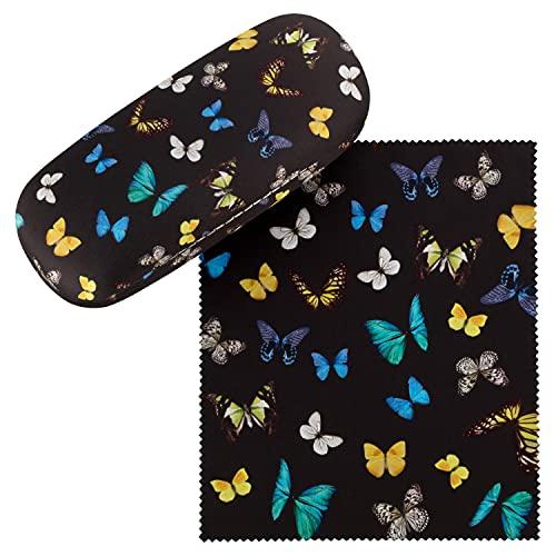 VON LILIENFELD VON LILIENFELD Brillenetui Schmetterlinge Butterfly Schmetterlingstanz Brillenputztuch Brillenbox Stabiles Hardcase Set mit Putztuch