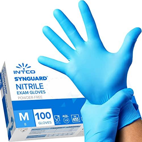 intco medical 100 guanti in Nitrile M senza polvere, senza lattice, ipoallergenici, certificati CE conforme alla norma EN455 guanti per alimenti guanti medici monouso