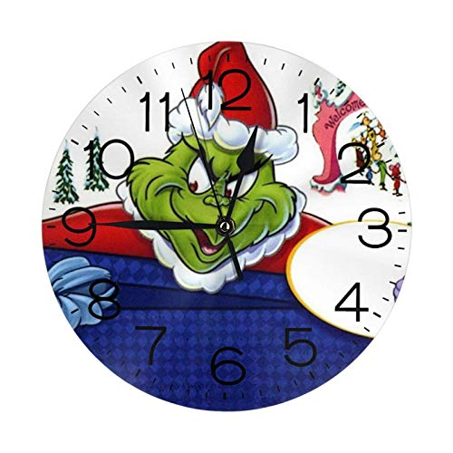 NOBRAND Soporte Base Relojes sin Marco Reloj Digital clásico sin tictac El Grinch Stink Stank Stunk Reloj Número Reloj de Pared Redondo