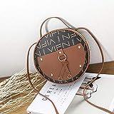 Vintage Scrub Leather Round Designer Crossbody para mujer PU Leather Shoulder Ladies Small Handbags Mini Tote Bag, BR