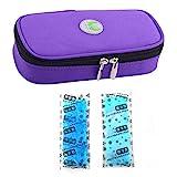 Bolso portátil del refrigerador del organizador de la insulina, bolso del refrigerador del viaje de la caja del protector médico con paquete de hielo para el diabético (Púrpura + 2 Bolsas de hielo)