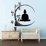 Axlgw Gran Buda De Bambú Tatuajes De Pared Dormitorio Sala De Estar Yoga India Religión Buda Bambú Planta Etiqueta De La Pared Arte De Vinilo
