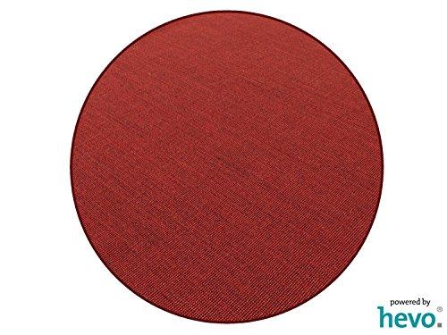 HEVO Salsa Design Sisal Teppich Rubin mit Bordeaux Kettelkante 200 cm Ø Rund