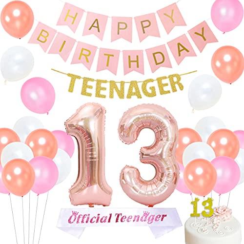 Kreatwow Decoraciones oficiales de cumpleaños para adolescentes Decoraciones de 13 años para niña Oro rosa con pancarta oficial para adolescentes Número 13 Globos de aluminio