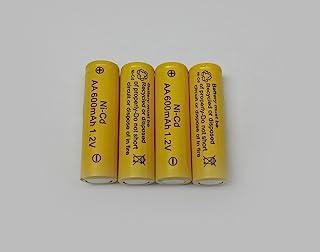 AA Ni-Cd 600mAh Yellow Rechargable Batteries for Solar Powered Units (4-Pack)