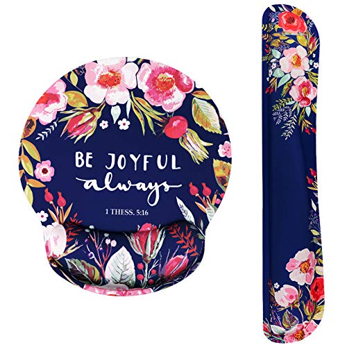 Bible Verse Ergonomic Design Mouse Pad with Wrist Rest Hand Support and Keyboard Support. Round Large Mousing Area. Mouse Pad and Keyboard Pad for Laptop, PC Computer & Mac. Great Gifts for Christians