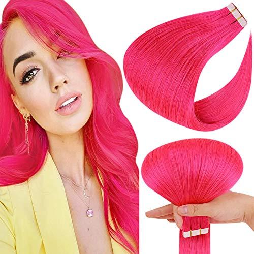 Hetto Extension Adhesive Cheveux Naturel Rose 16 Pouces Lisse Vrai Cheveux Femme à Bande Adhésive Invisible Extensions Tape in Double Weft 10 Pièces 25g par Paquet