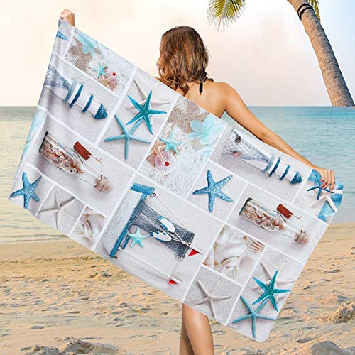 """Microfiber Nautical Beach Towel, Marine Life Starfish Beach Towels Oversized, Super Soft Water Absorbent Bath Towel for Traveling, Bathroom, Swimming, Camping, Sports, 30"""" X 60""""Inch…"""