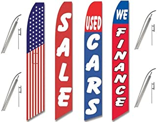 4 Swooper Flags & Pole Kits Used Car Auto Sale American Red White Blue Patriotic