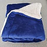 XUMINGLSJ Mantas para Sofa, Mantas para Cama de Franela Reversible, Mantas Ligeras de 100% Microfibra - Fácil De Limpiar - Extra Suave Cálido -Azul Marino_El 120x200cm